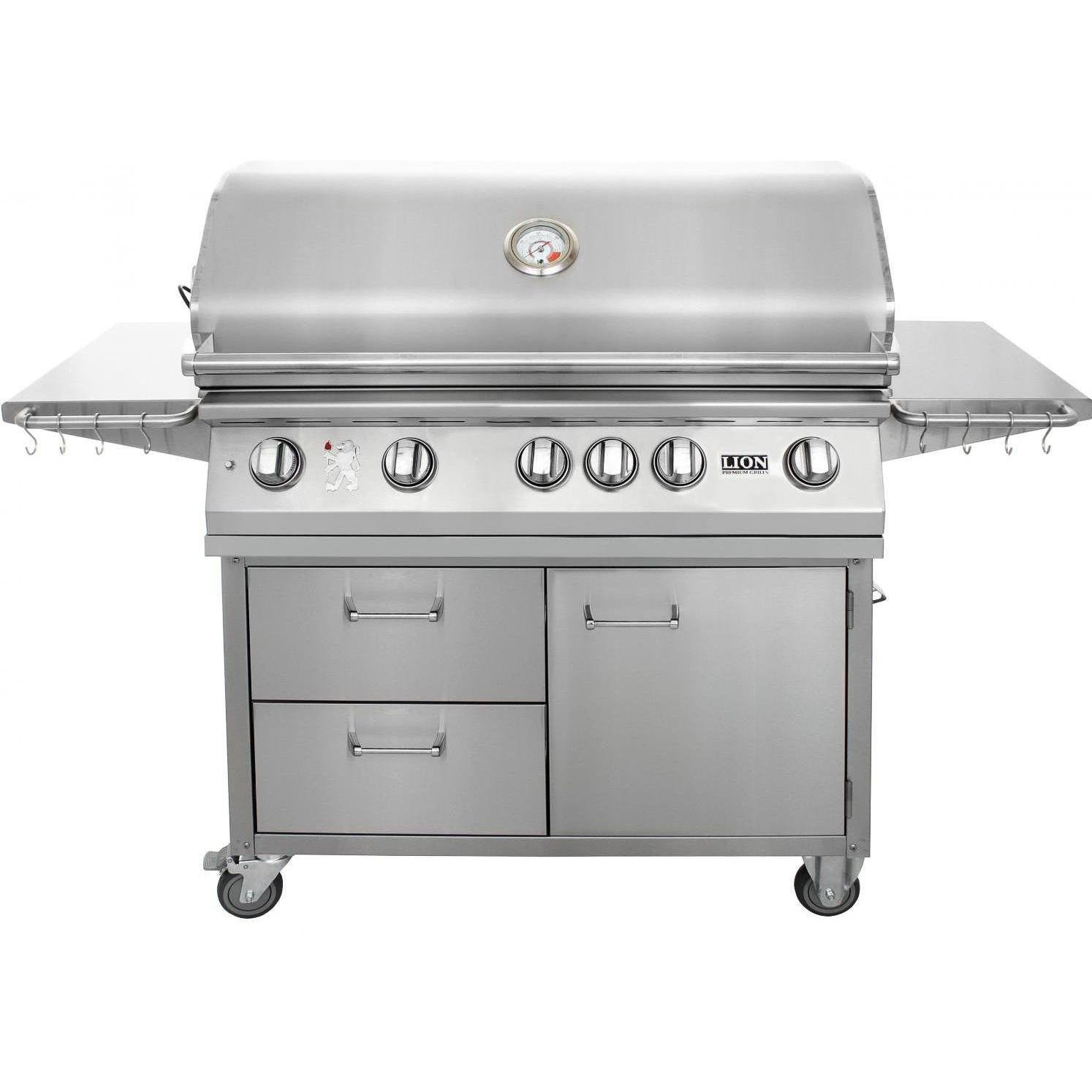 "1. Lion 40"" Stainless Steel Propane Gas Grill on Cart"