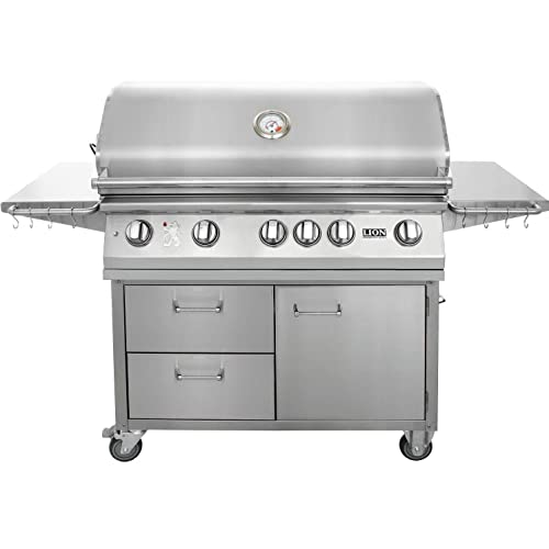 """1. Lion 40"""" Stainless Steel Propane Gas Grill on Cart"""
