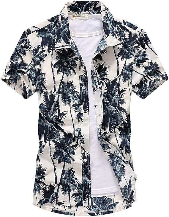 Mens Polo Shirtcamisa De Playa Hawaiana con Estampado De Palmeras para Hombres Camisas De Manga Corta De Verano Ropa De Vacaciones para Hombres Chemise: Amazon.es: Ropa y accesorios