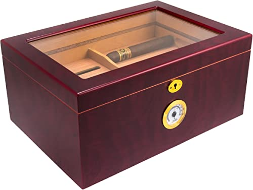 Mantello-Cigar-Humidor-Large-Glass-Top-Humidifier-Box-with-Hygrometer