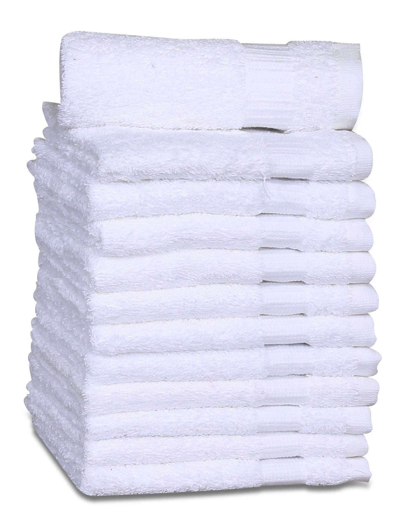 GOLD TEXTILES 5 Dozen Luxury Cotton Washcloths (60-Pack,Bright White,13x13 Inches) - Easy Care,Thick Super Soft Highly Absorbent Quick Dry, Premium Cotton Hand Towels (60, White)