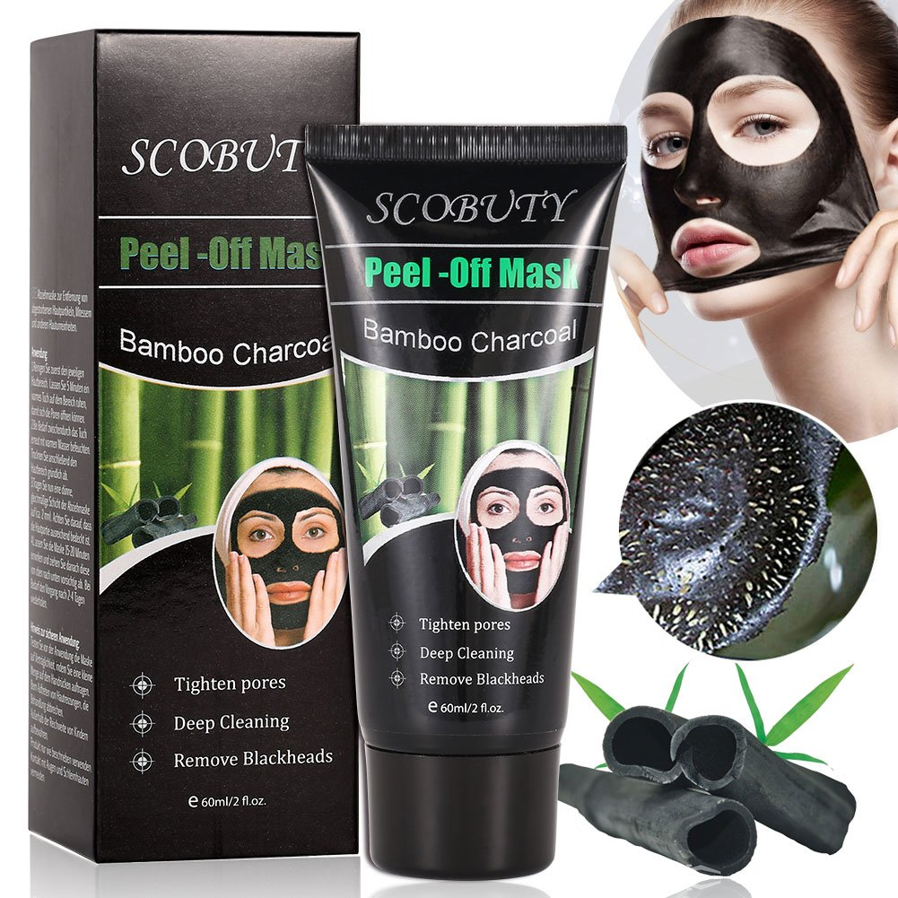Charcoal Face Mask, Blackhead Mask, Peel Off Mask, Blackhead Removal Mask, Deep Facial Cleansing Black Mask For The Nose, Cheeks and Chin, Pore Minimizing Face Mask Purifying Acne For Flawless Skin SCOBUTY 125g