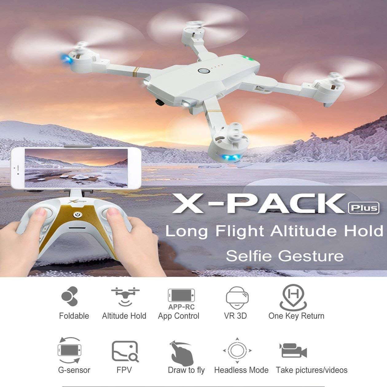 HONZIRY Attop XT1 Plus 2.4G FPV Drone Plegable RC Quadcopter con 1080P Gran Angular Gesto de cámara Autorretrato Vuelo de altitud de Vuelo Largo, Blanco: Amazon.es: Juguetes y juegos