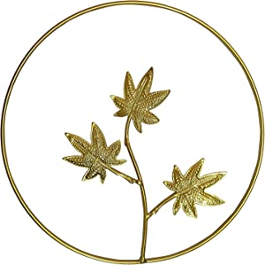 Iron Wall Decor, Gold Metal Maple Leaf Wall Decor Round Wall Ornaments,Easy Installation Great for Bedroom Hanging Parts Hotel Wall Decoration, Round Wall Sculptures(Gold)