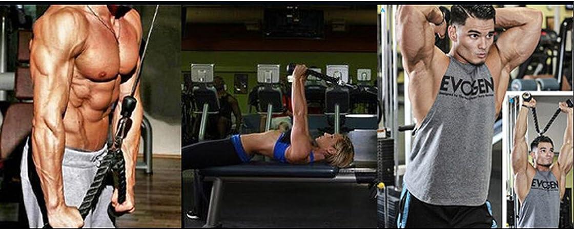 kraftvolles Griffkabel mit Karabinerhaken Arm-Krafttraining-Kombinationen f/ür Physiotherapie Rehabilitation XYZDOUBLE Trizepsseil Trizeps Push Pull Down Seil f/ür Multi Gym und 2X multifunktionales