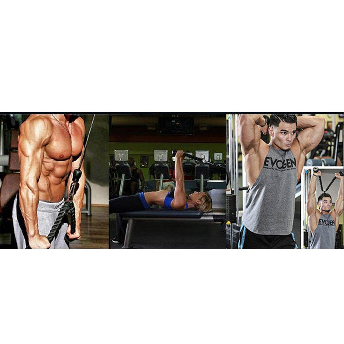 CMYKZONE Triceps Push Pull Down Corde Cordon pour Multi Gym /& 2/x Multifonctionnel Puissant Poign/ée C/âble de Fixation Complet avec Mousqueton Mousqueton