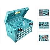 Makita 3-Fach-Schubladenkoffer inkl. 126-teiliger Werkzeug Set für 6260, 6261, 6270, 6271, 6280, 6281, 8270, 8271, 8280, 8281 DWAETC