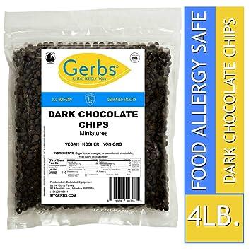 Chips de chocolate oscuro, plumas, polvo, trozos de Gerbs ...