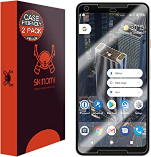 Skinomi TechSkin [2-Pack] (Case Compatible) Clear Screen Protector for Google Pixel 2 XL 2017 Anti-Bubble HD TPU Film