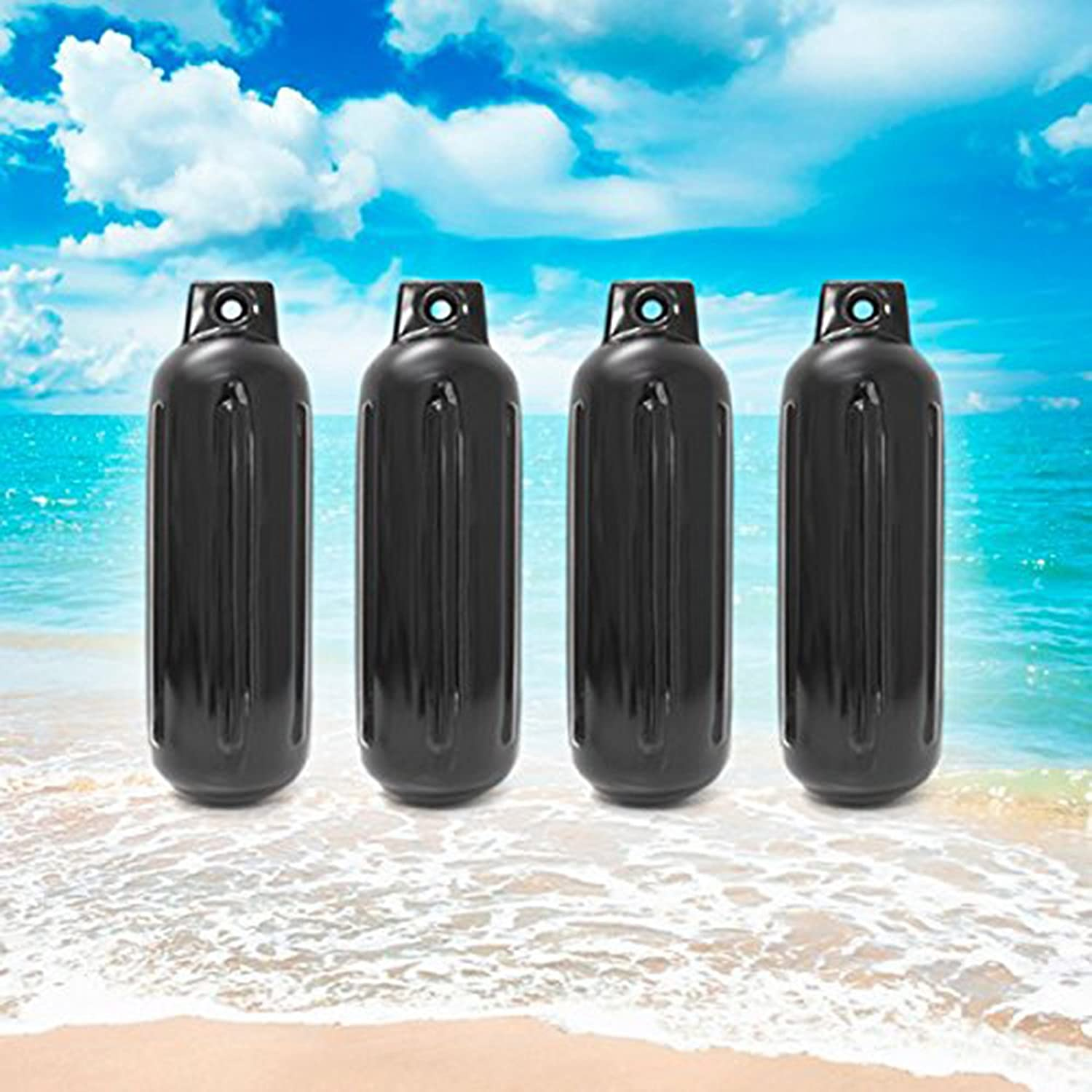 """4 NEW RIBBED BOAT FENDERS 4.5/"""" x 13/"""" BLACK SINGLE EYE BUMPERS MOORING PROTECTION"""