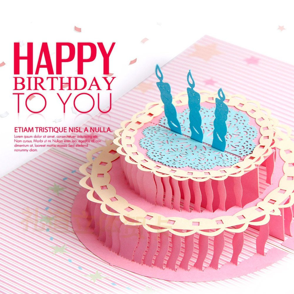 Amazon DKY Happy Birthday Greeting Card Cake Pop Up Colour Printing 3D Office Products