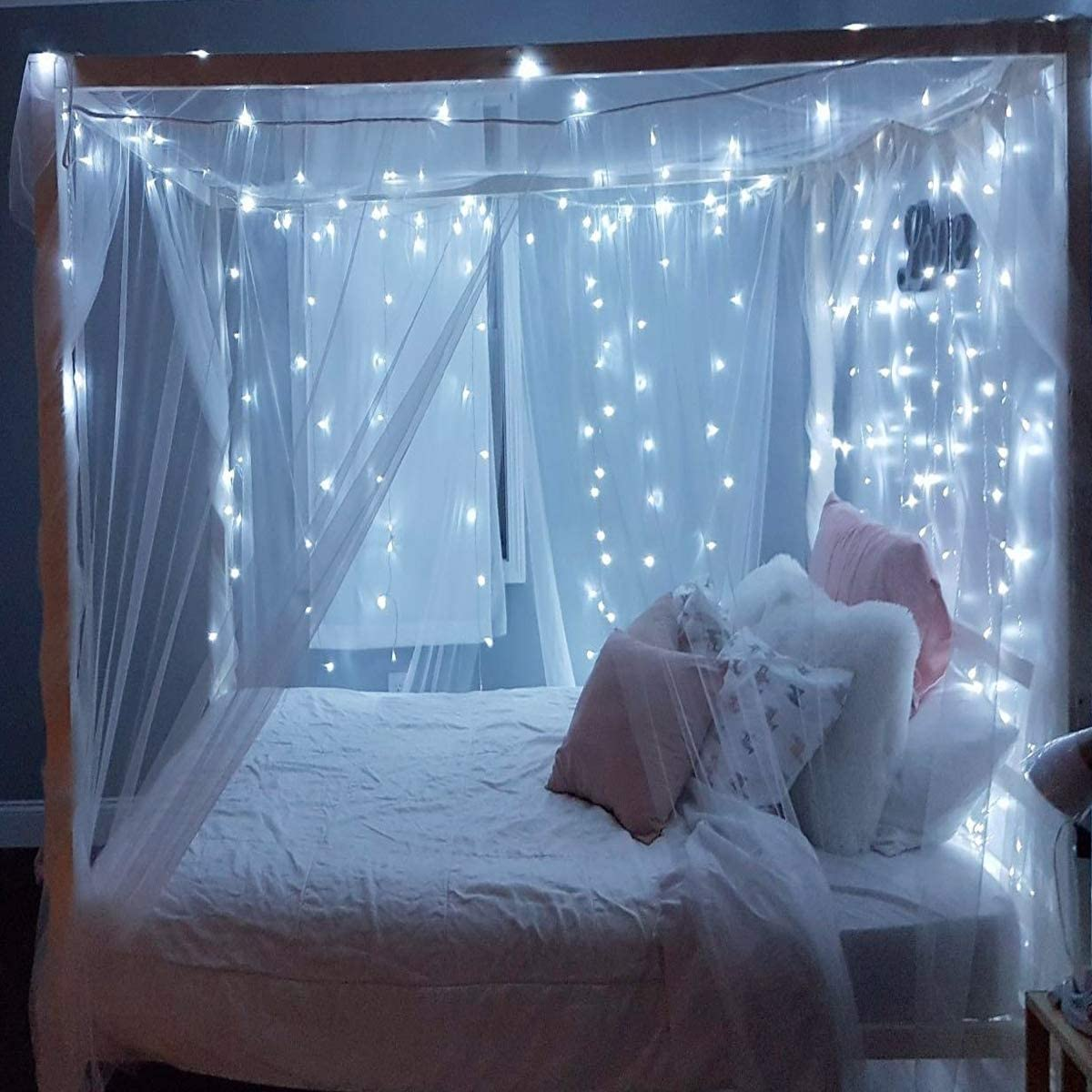 Remote warmwhite DLIUZ UL Safe 300 LED 9.8FT Linkable Curtain Lights Icicle Lights Fairy String Lights with 8 Modes for Christmas Wedding Party Family Patio Lawn Decoration