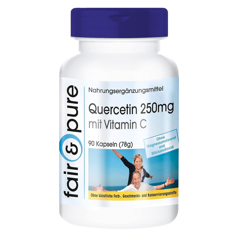 Quercetina 250mg con vitamina C - 90 cápsulas veganas: Amazon.es: Salud y cuidado personal