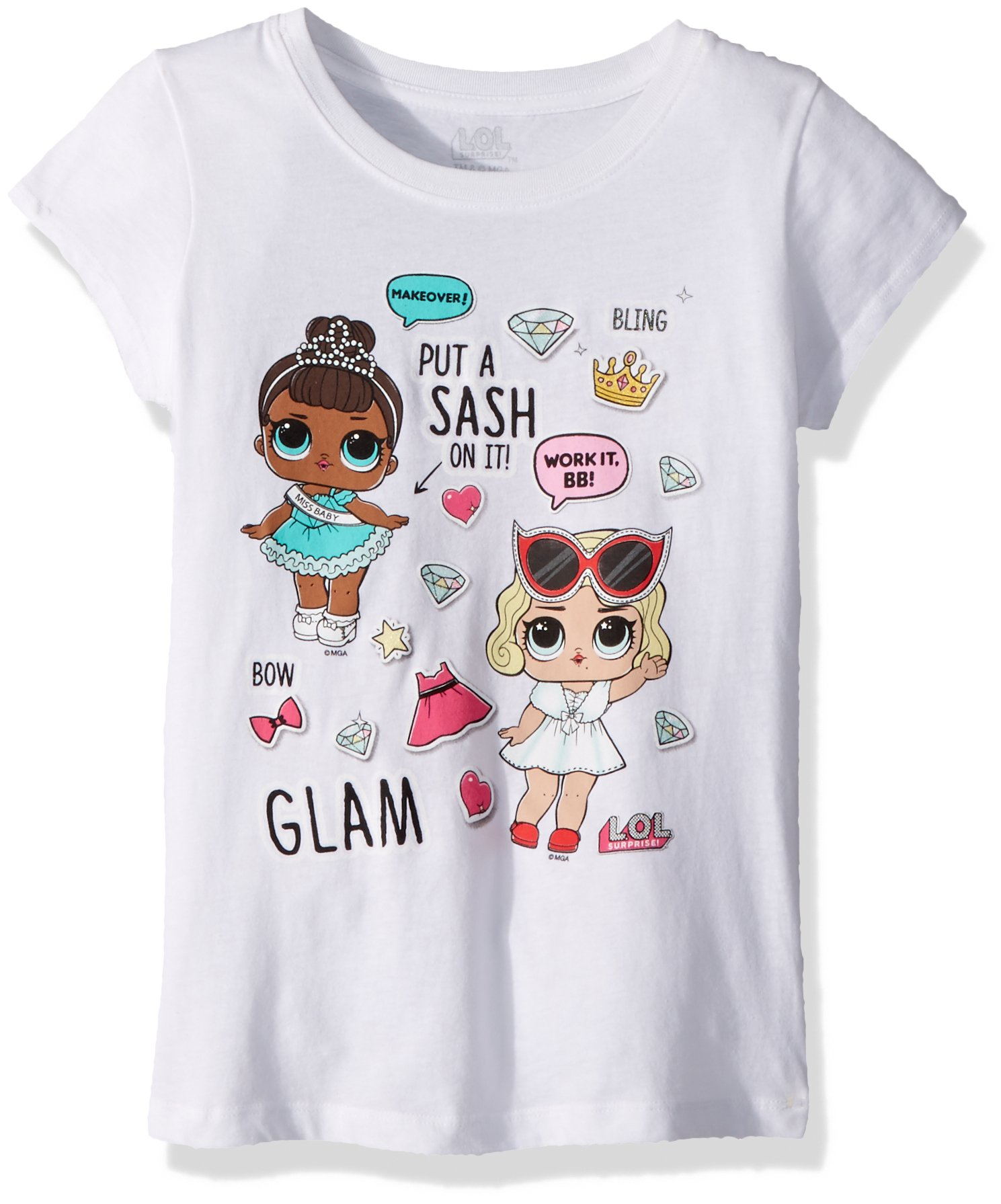 L.O.L. Surprise! Big Girls' Glam Club Miss Leading Baby Short Sleeve T-Shirt, White, XL-16