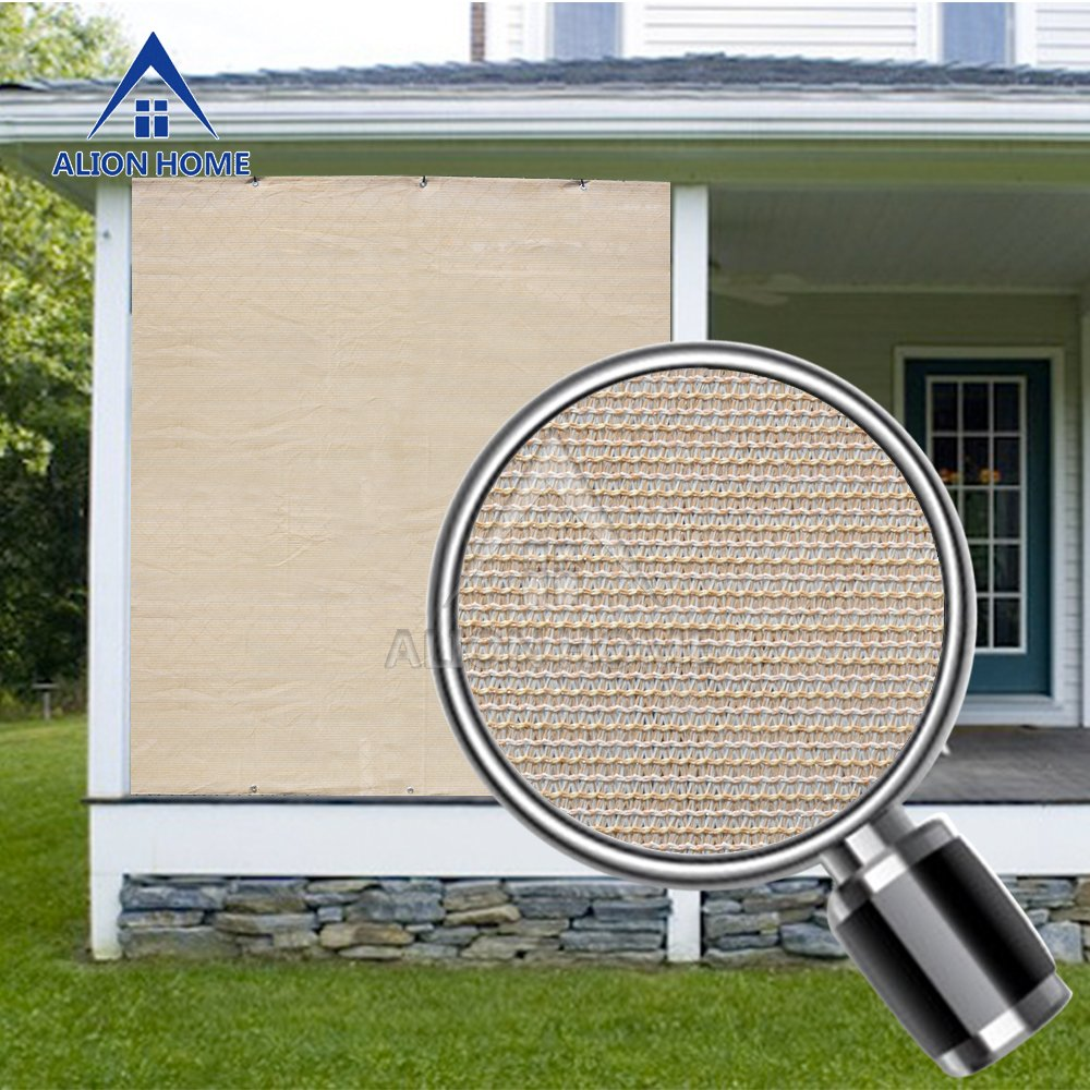 Alion Home Sun Block Privacy Shade Panel with Grommets on 2 Sides for Patio, Awning, Window Cover, Pergola or Gazebo (Banha Beige) (8' x 12')