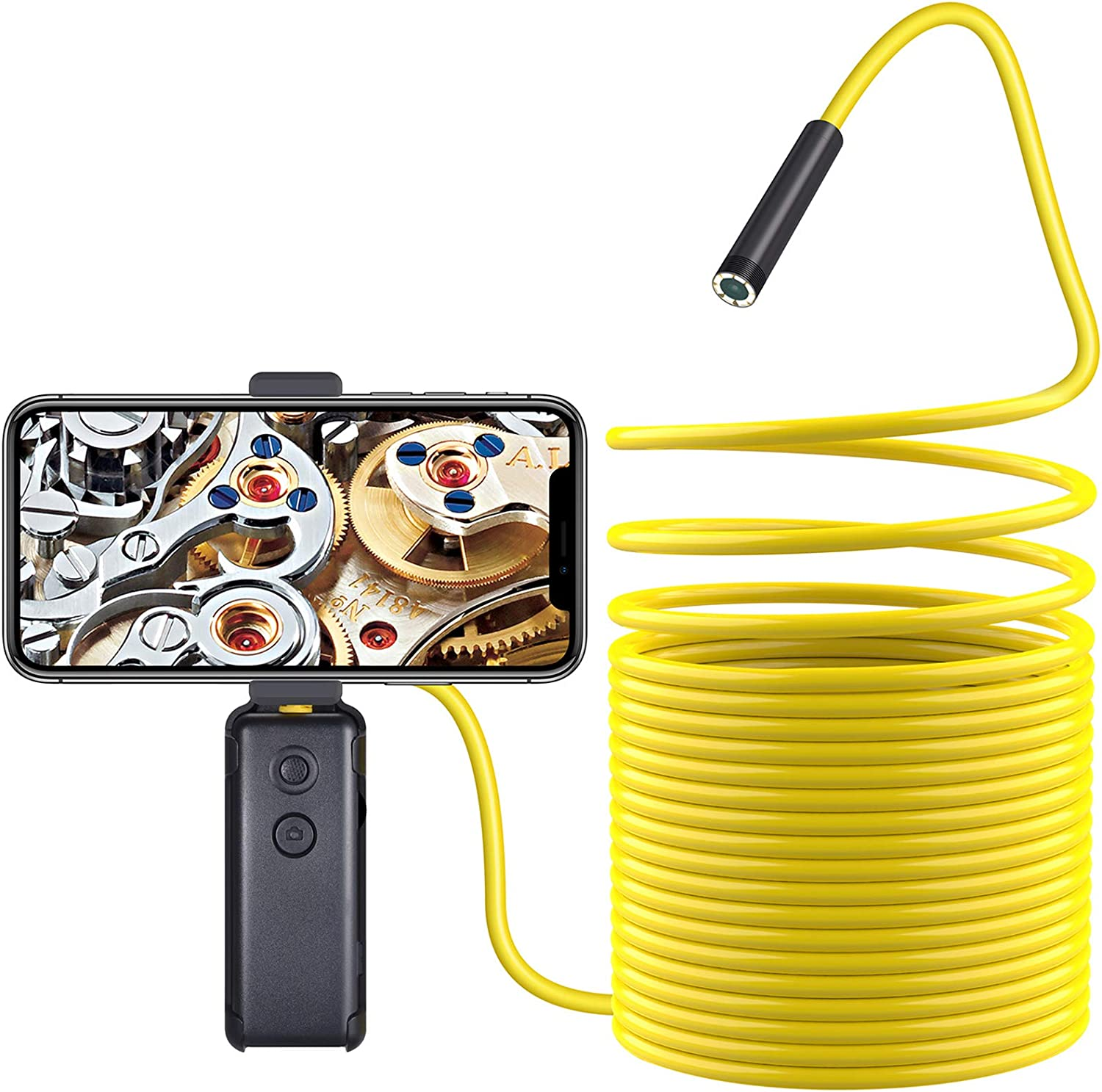 Wireless Endoscope,TurnRaise Upgrade Semi-Rigid Flexible WiFi Borescope Inspection Camera with IP67 Waterproof 2MP HD Borescope Inspection Snake Camera FIt iOS Smartphone,Samsung, iPad, Table((16.4FT)