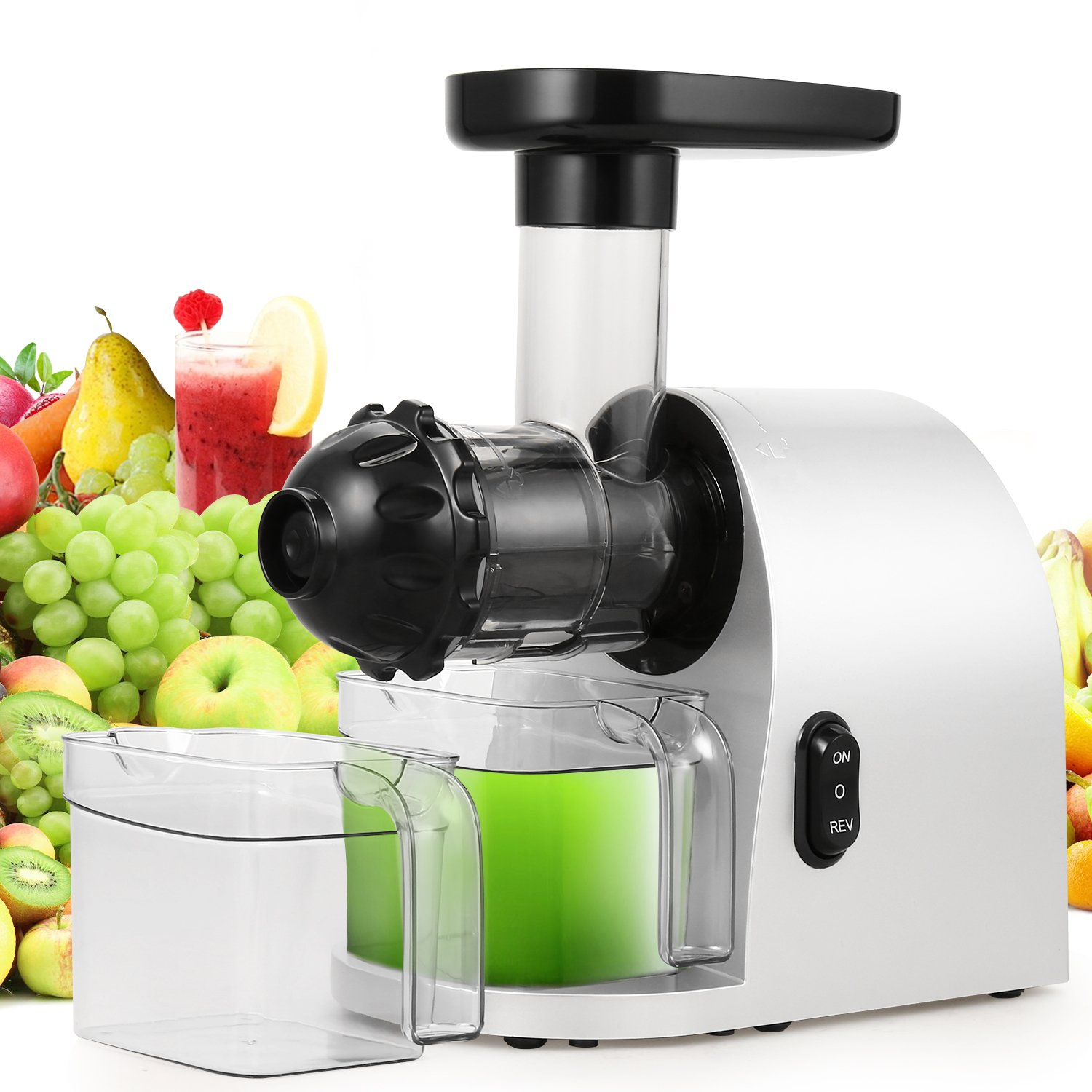 Slow Masticating Juicer Extractor, Cold Press Juicer Machine with Brush to Clean Conveniently High Nutrient Fruit and Vegetable Juice (Silver)