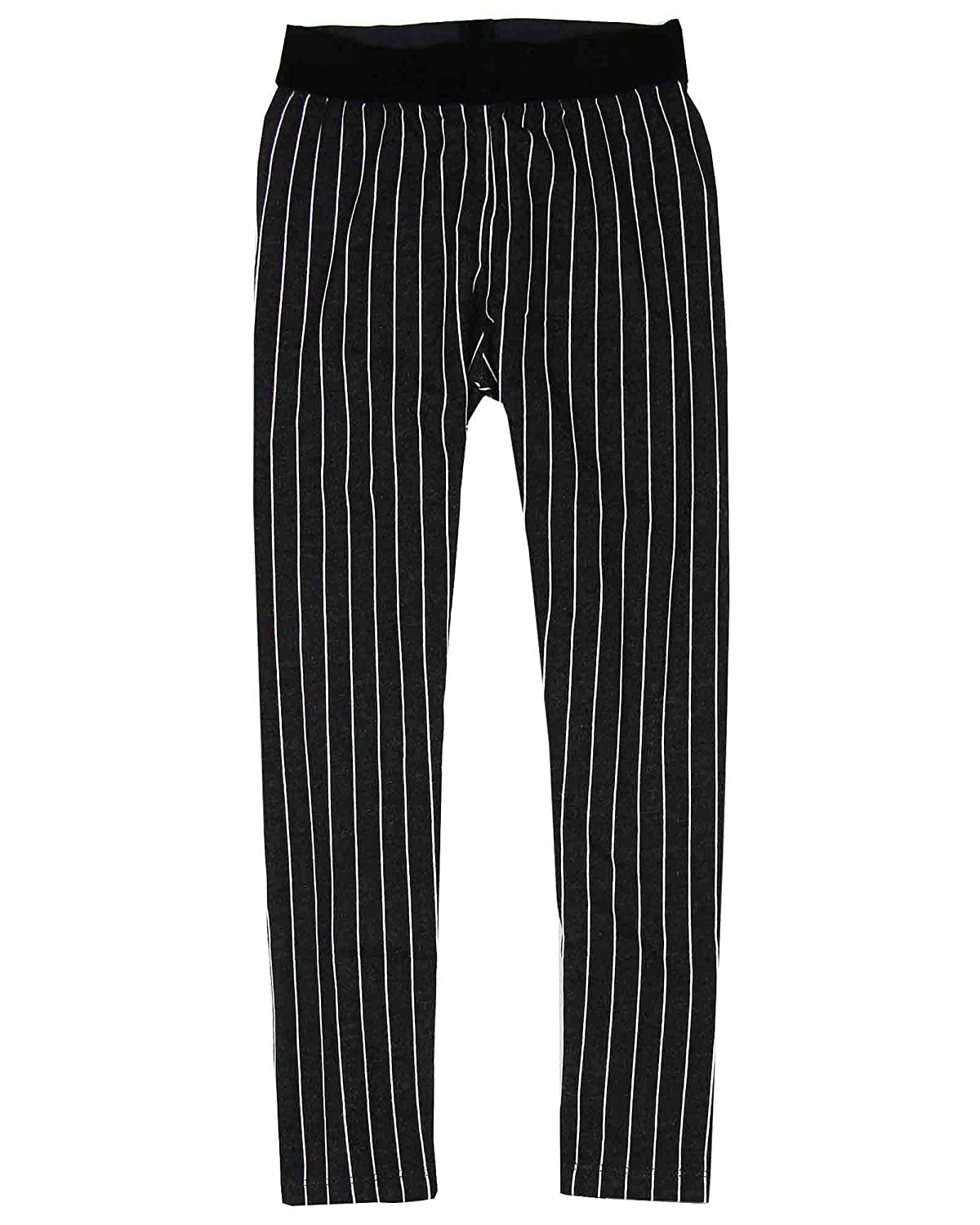 Sizes 6-12 Deux par Deux Girls Striped Leggings Black and White