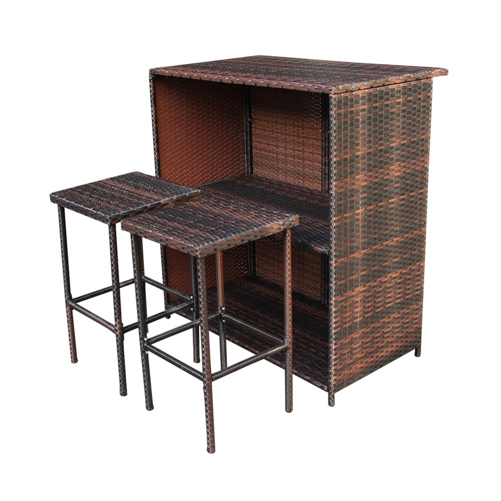 Smartman Outdoor 3 PCS Brown Bar Set PE Rattan Wicker Table & 2 Stools Furniture Set. Great for Your Backyard, Front Porch, Poolside, Garden.