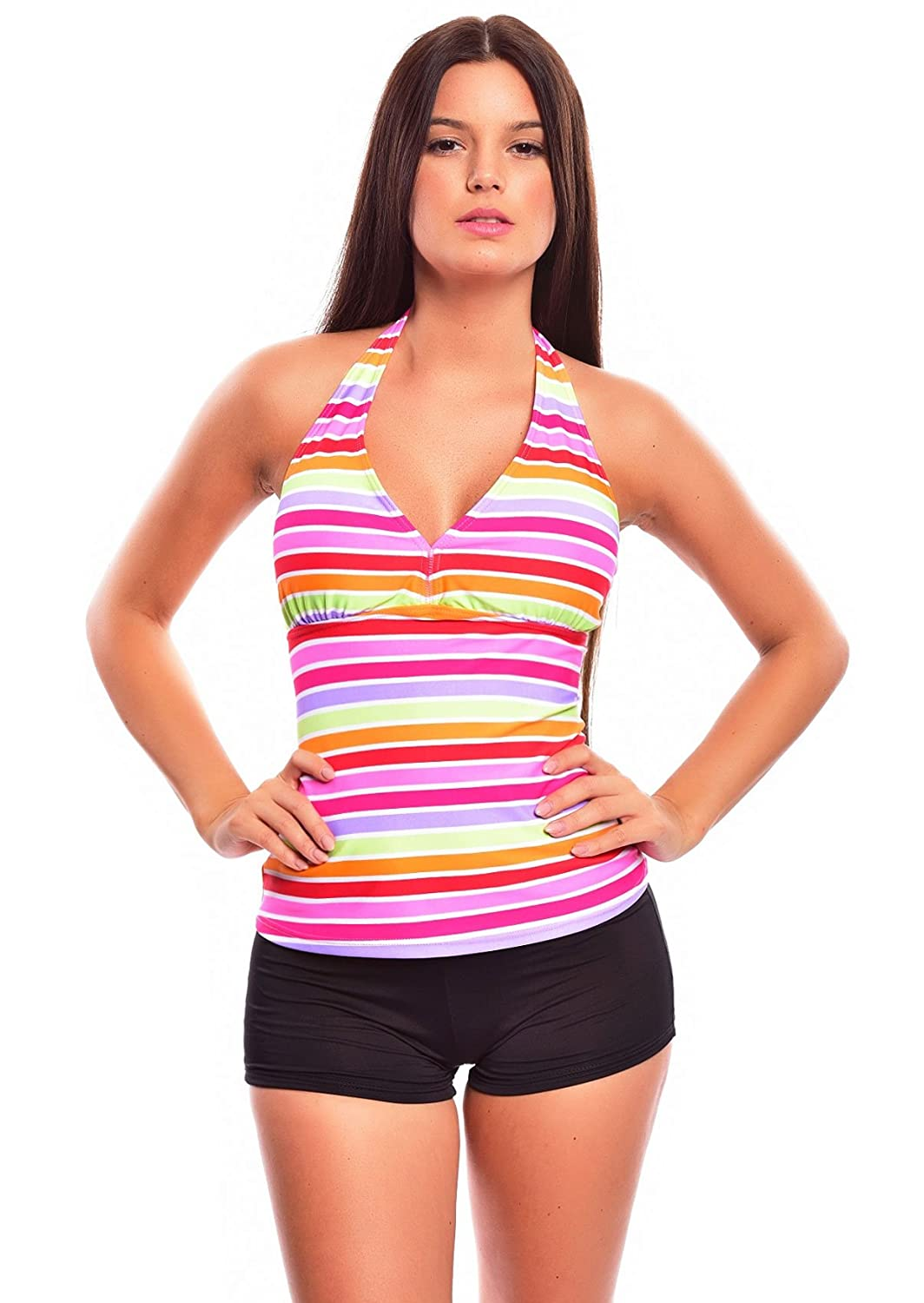 9ca6862123 Lady´s Push Up Tankini with Hotpants/ Slip two pieces diffenrent colors  f3784 at