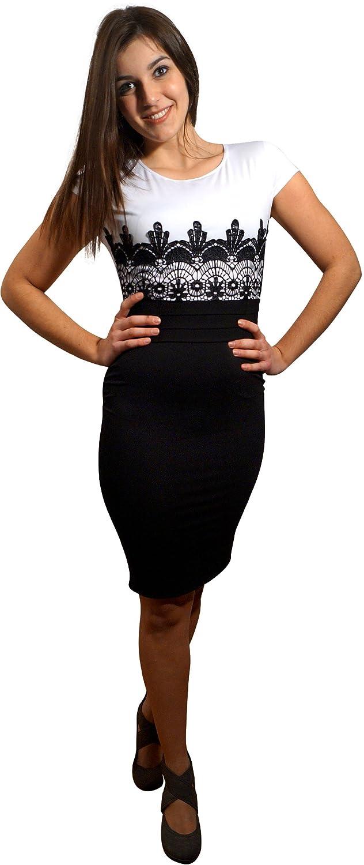 Schwarz-Weißes Knielanges Kleid \