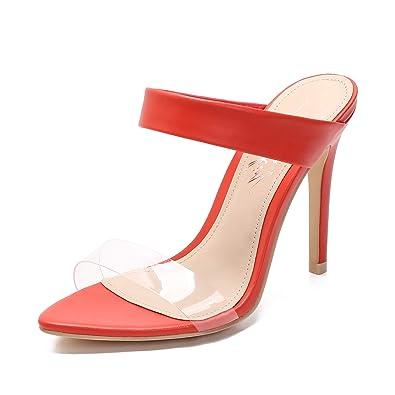 8affd8a83a9 MACKIN J Sandlas G345-1 Women's TPU Clear Sandals Open Pointed Toe High  Heel Slip On Mules Summer Dress Pump Heel