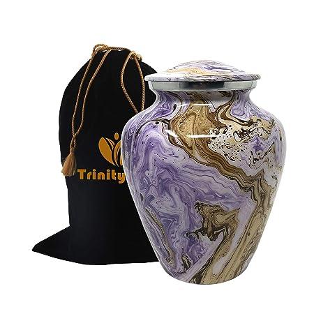 Ocean Tides Cremation Urn – Elite Waves Urn – Beautifully Handcrafted Adult Funeral Urn – 100 Solid Metal Urn – Affordable Urn for Human Ashes with Free Velvet Bag Purple Sandy