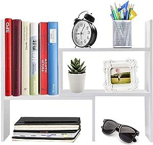 Z&XL Desktop Organizer Office Storage Rack Adjustable Wood Display Shelf - Free Style Double H Display - True Natural Stand Shelf,White