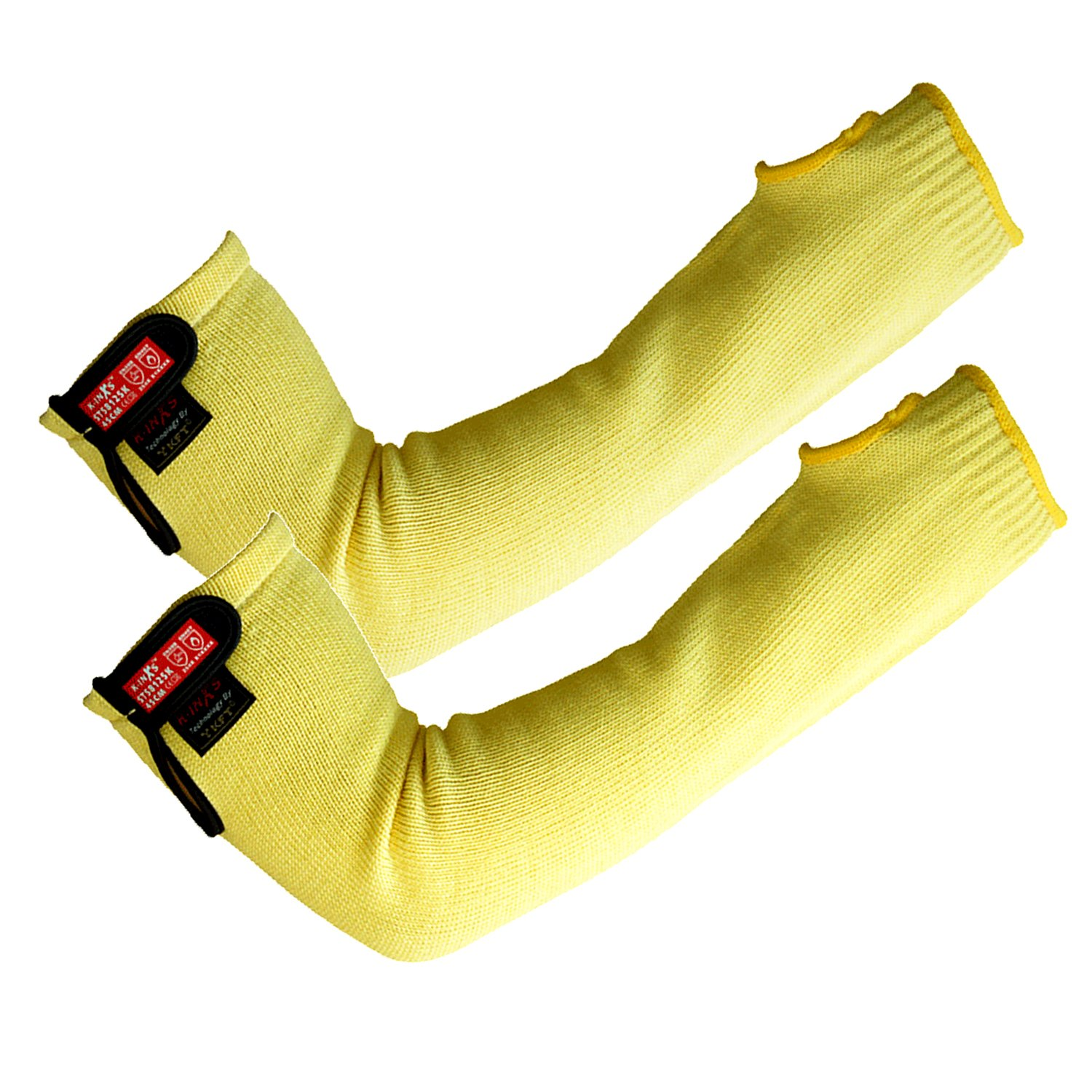 SAFETY-INXS Cut Resistant Sleeves Level 5 With Thumb Hole, Arm Protection Sleeves for Thin Skin, Safety Protective Arm Sleeves/Cut and Heat Resistant, Slash Resistant Sleeve 18 inch Long Yellow 1 Pa