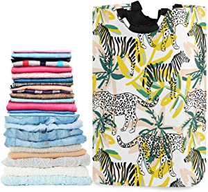 visesunny Collapsible Laundry Basket Tropical Leopard Zebra Animal Large Laundry Hamper with Handle Toys and Clothing Organization for Bathroom, Bedroom, Home, Dorm, Travel