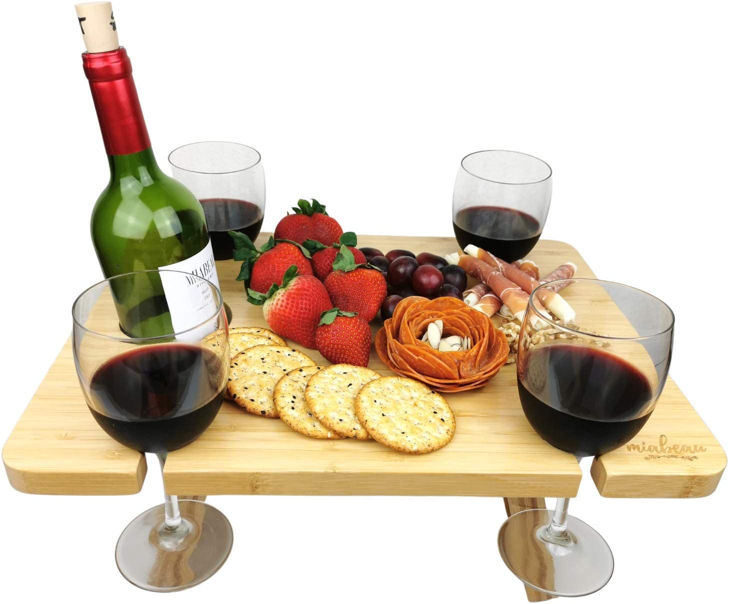 MIABEAU Portable Wine Picnic Table - Premium Natural Bamboo Folding Charcuterie Meat and Cheese Tray with Bottle and Four Glass Holder for Outdoors and Indoors with a Tote Carrier Bag Natural Color