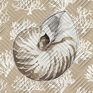 Sand Conch Embossed Cocktail Napkin Set of 20-5 x 5 Inches