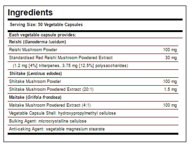 Solgar Reishi Shiitake Maitake Mushroom Extract - 50 Cápsulas vegetales