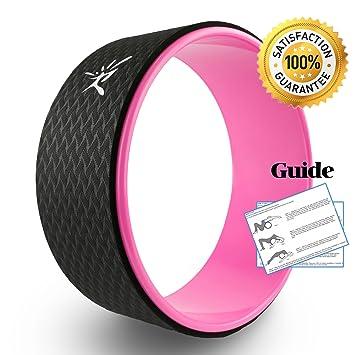 Rueda de Yoga IVIM-la rueda de Yoga más fuerte y cómoda para Dharma Yoga, accesorio para posturas de Yoga, rueda perfecta para estiramiento, aumenta la flexibilidad y mejora las flexiones hacia atrás, básica 33 x 12 cm, mujer, rosa