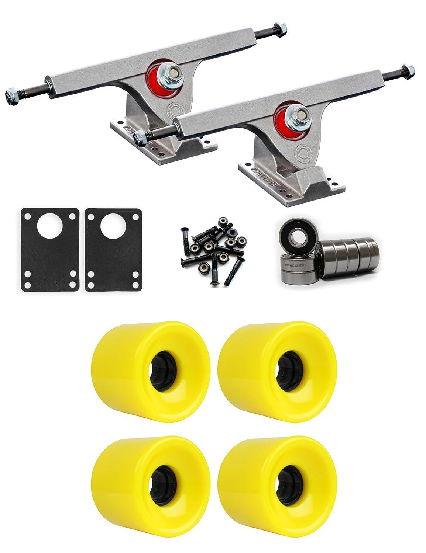 Caliber Raw Longboardトラックホイールパッケージ62 mm x 51.5 MM 83 A 012 Cイエロー   B01IJ8IQFU
