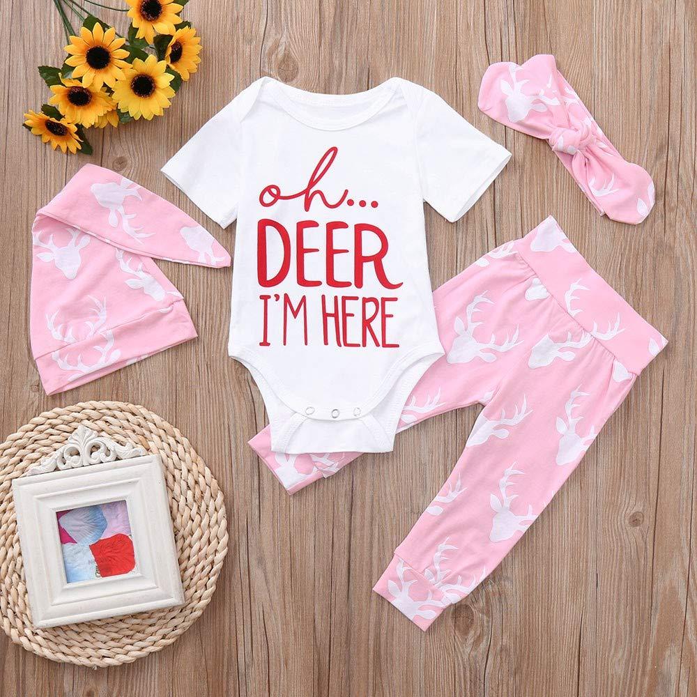 Tronet 4Pcs Christmas Baby Girls Boys Deer Letter Romper+Pants+Hat+Headband Jumpsuit Outfits Set