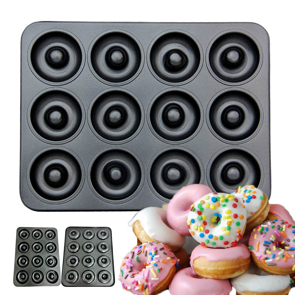 CHEFHUB 12 Cavity Non-Stick Mini Donut Pan, Dia=2'' Extra Thick Non-Stick Donut Pan, Mini Donut Maker, Baking Doughnut Mini Begal Cake Pop