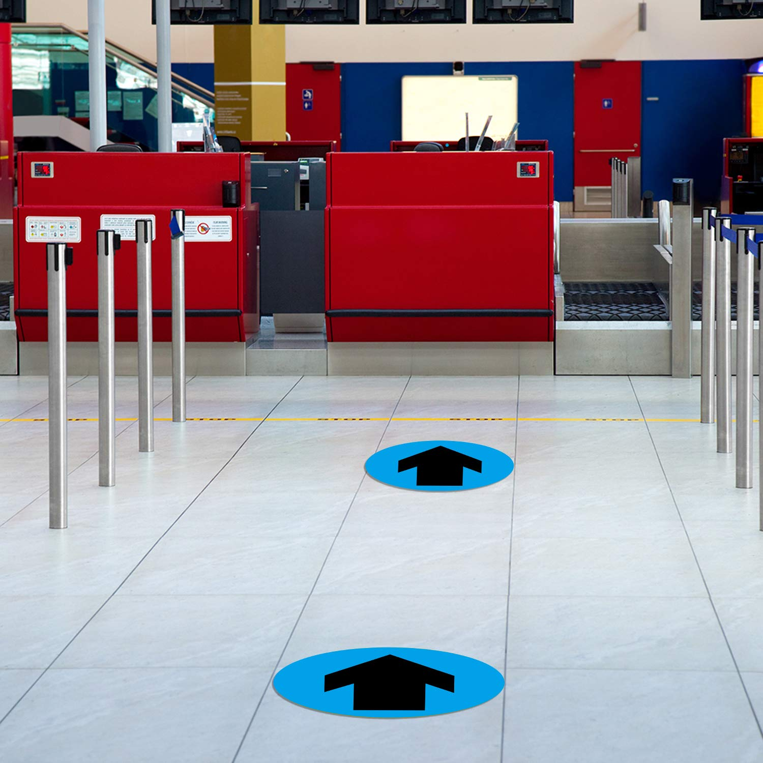 Directional Floor Stickers Floor Arrows Decals Social Distance Floor Sign Markers for Crowd Guidance Control 15 Bank Station Directional Arrows Signs 9.5 Inch
