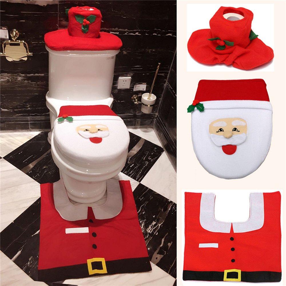 Jentay Santa Toilet Seat Cover Bathroom Mat And Rug Set , Set Of 3 Pcs