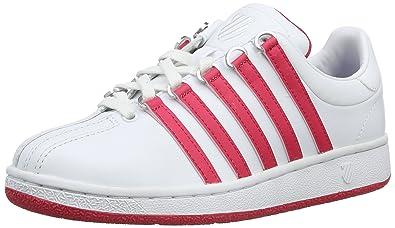 K-Swiss Women's Classic Vintage Fashion Sneaker, White/Raspberry, ...