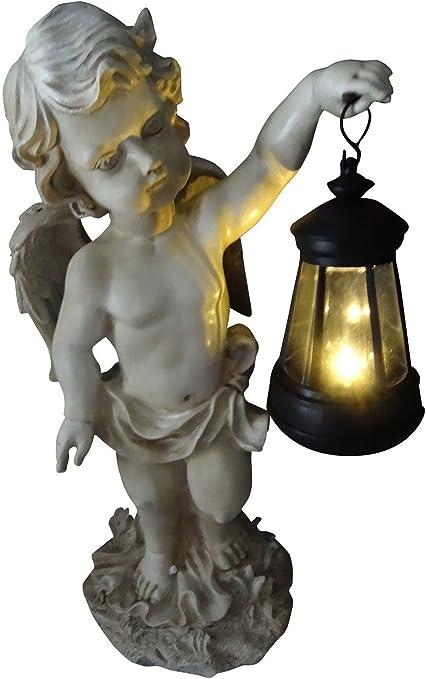 SSITG XL Figura de ángel con LED solar Farol Estatua Jardín Figura Ángel Escultura 42 cm: Amazon.es: Jardín