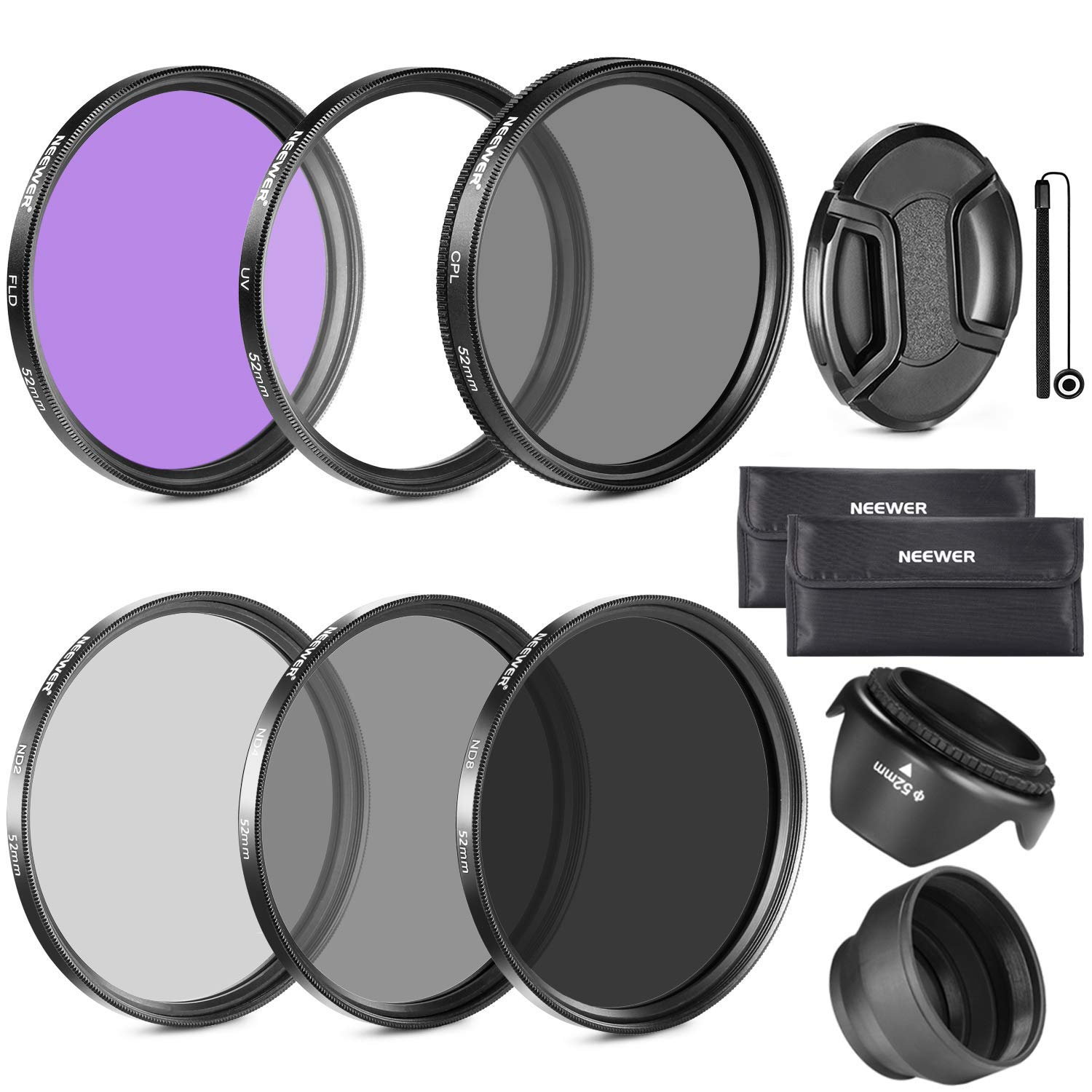 Neewer 58MM Lens Filter Accessory Kit (UV, CPL, FLD) for CANON EOS Rebel T5i T4i T3i T3 T2i T1i XT XTi XSi SL1 DSLR Cameras by Neewer