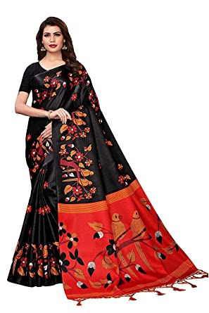 1210464f12 Trymode Khadi Silk Saree With Blouse Piece(Tymn_Bird Black_S_Black_Free  Size): Amazon.in: Clothing & Accessories