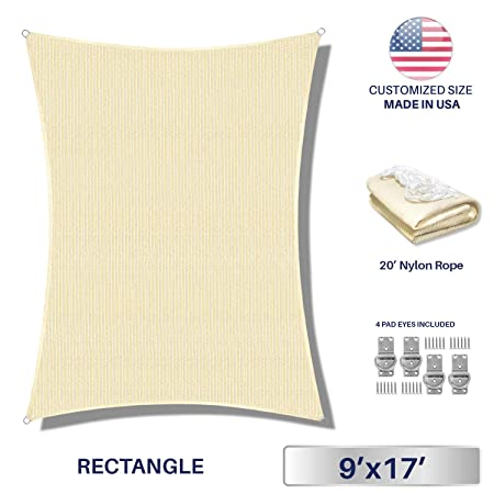 Windscreen4less 9 x 17 Rectangle Sun Shade Sail – Beige with White Strips Durable UV Shelter Canopy for Patio Outdoor Backyard with Free 4 Pad Eyes – Custom Size