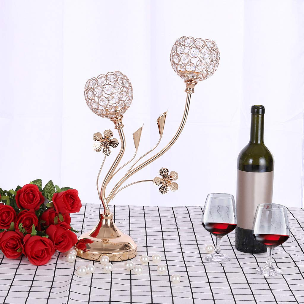 Imakcc Crystal Candle Holders Coffee Table Decorative for Valentine's Day /Thanksgiving/Birthday/Housewarming Candlestick Gold/Silve (Gold) by iMakcc (Image #1)