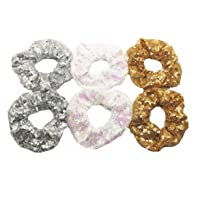 PNEIFON 6 Pack Hair Scrunchies, Sequin Scrunchies Elastic Stretch Sparkly Glitter Fashion Scrunchie Hair Tie Ponytail Holders Bun Cover for Girls and Women 6 Pack