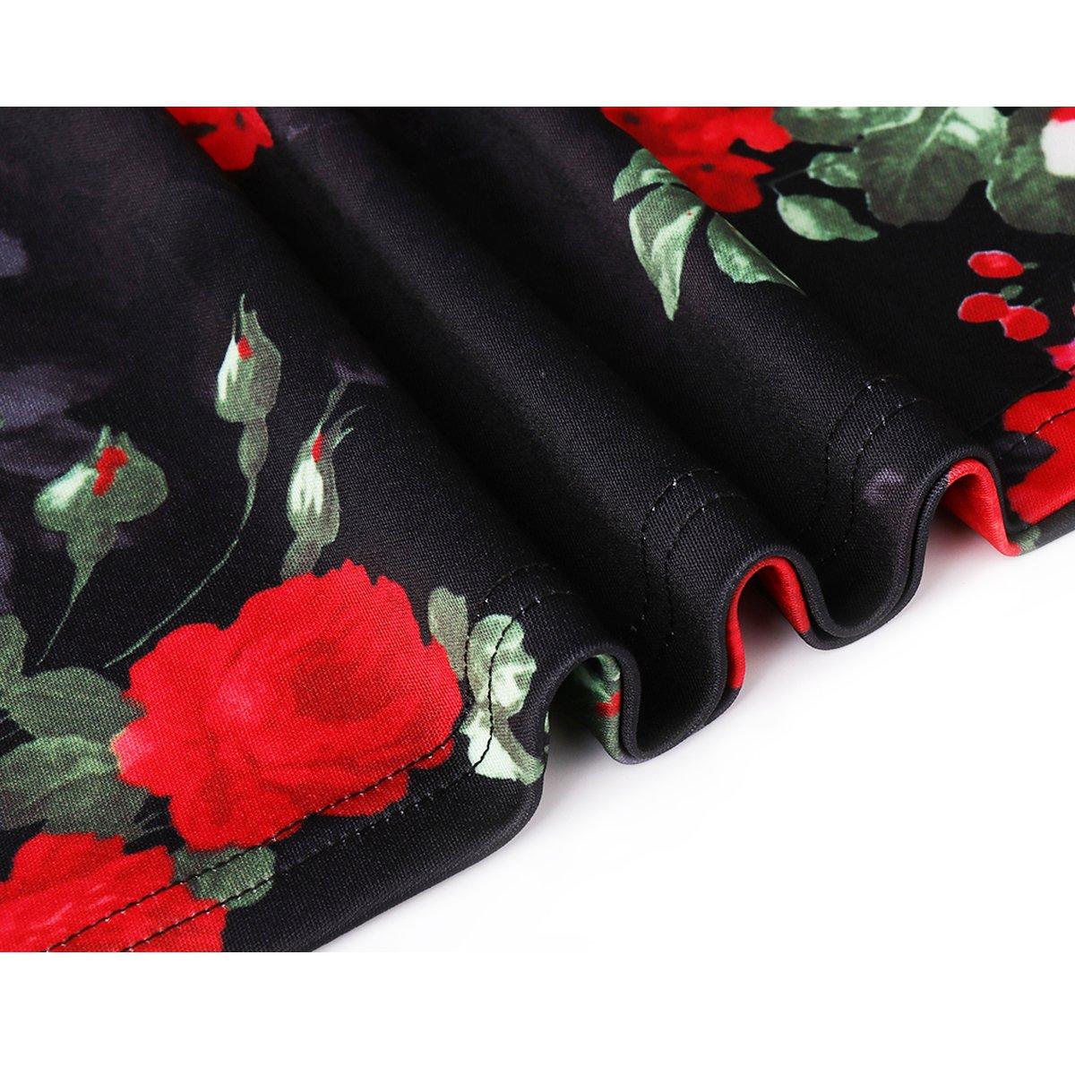 Zumine Women\'s Vintage Floral Midi Dress V-Neck half Sleeve Party cocktail dress (S, Red Floral)