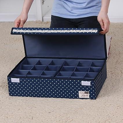 Sivin 24-cells espacio ajustar libremente sujetador ropa interior cajas de almacenamiento con tapa a