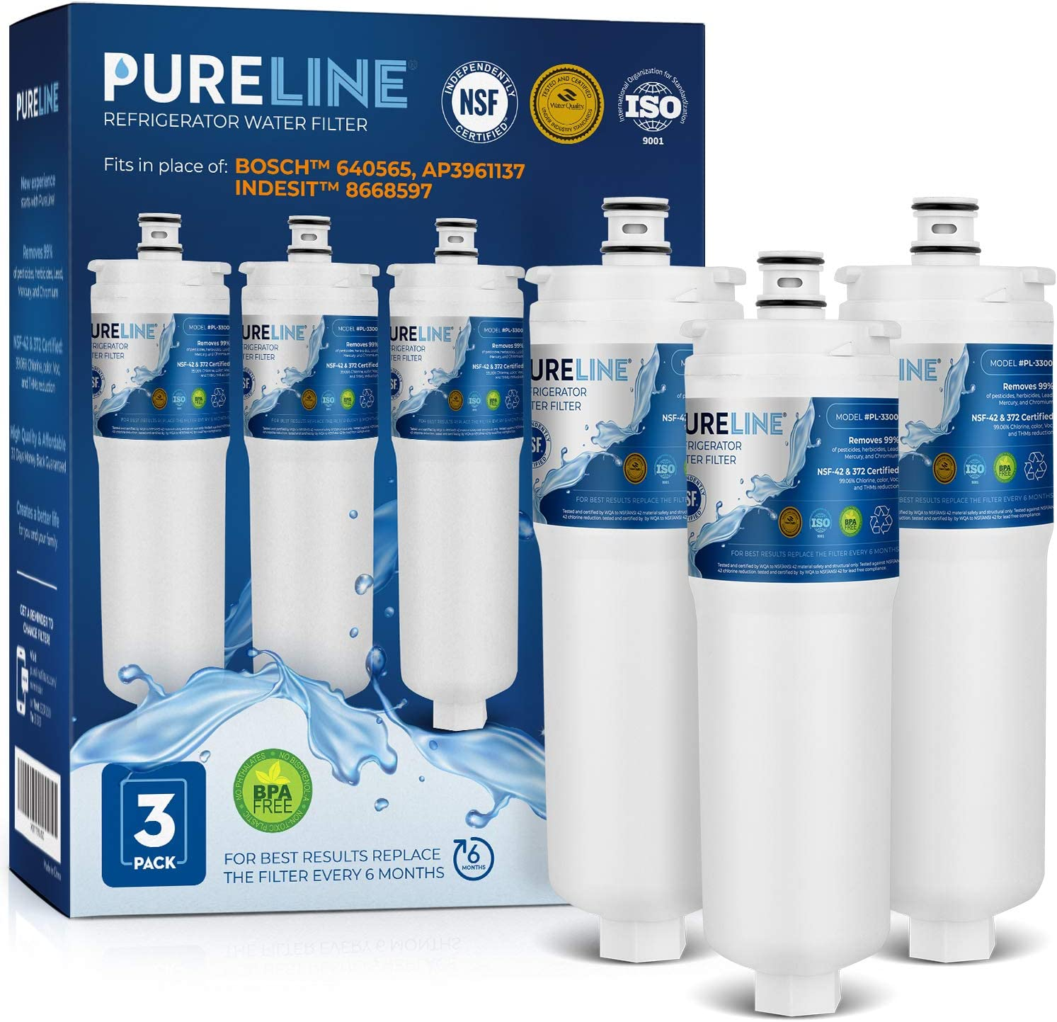 PURELINE 640565 Refrigerator Water Filter Replacement. Compatible with Bosch 640565, EVOLFLTR10, AP3961137, Whirlpool WHKF-R-PLUS. Triple Action Filtration with Advanced Carbon Block. (3 Pack)