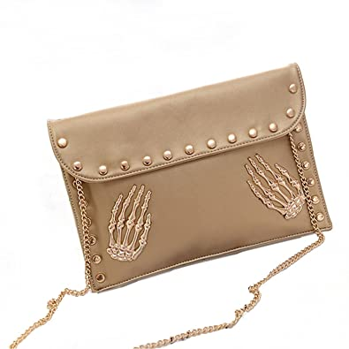 f6b2f47df395 Dapengzhu Women s Fashion Skull Rivet Clutch Handbag Envelope Chain Shoulder  Crossbody Bag Black Hot sell